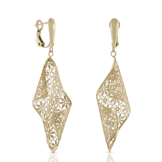 Toscano Golden Lace Curl Earrings 18K