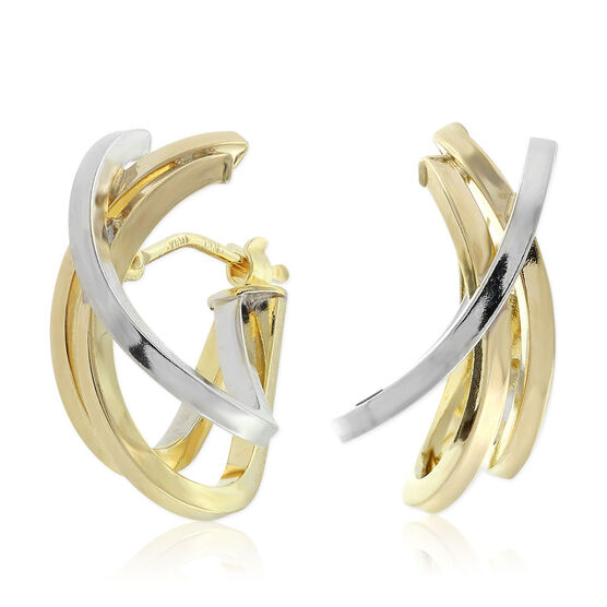 Toscano Two-Tone Contemporary Hoop Earrings 14K