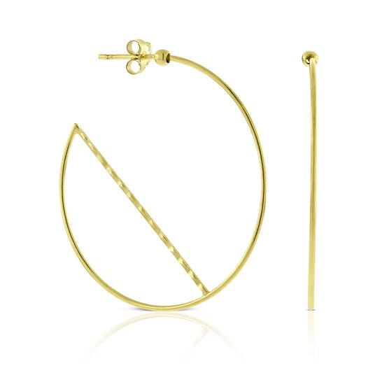 Geometric Hoop Earrings 14K