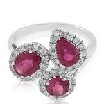 Ruby & Diamond Cluster Ring 14K