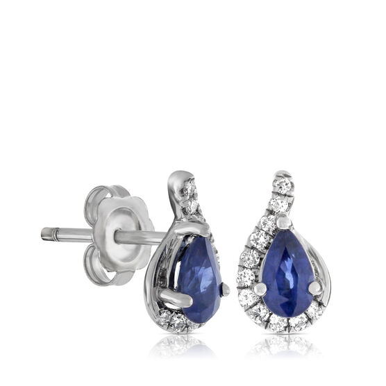 Sapphire & Diamond Stud Earrings 14K