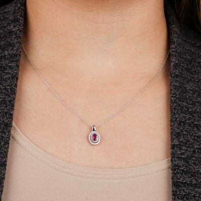 Oval Ruby & Diamond Pendant  14K