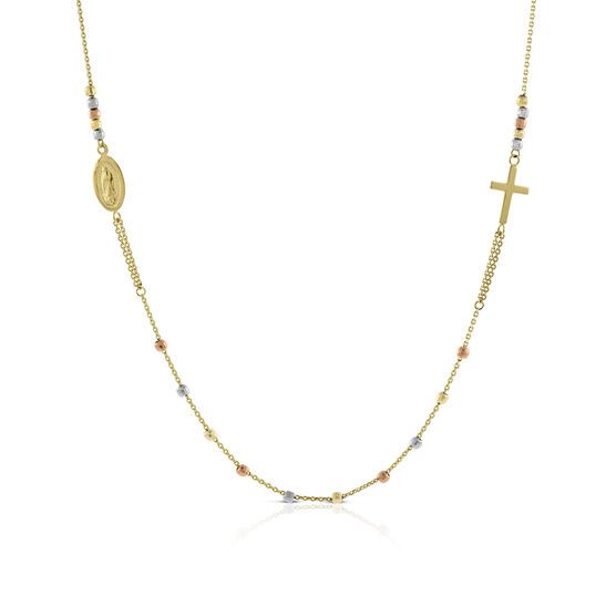 Tri-Color Virgin Mary & Cross Necklace 14K