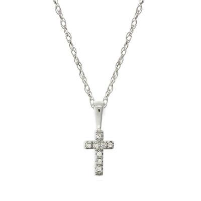 Baby Diamond Cross Pendant 14K