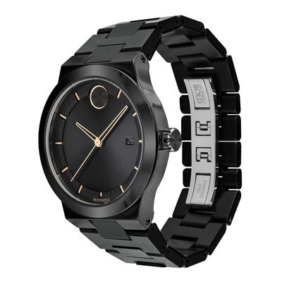 Movado Bold Black Ion & Rose Detailed Watch