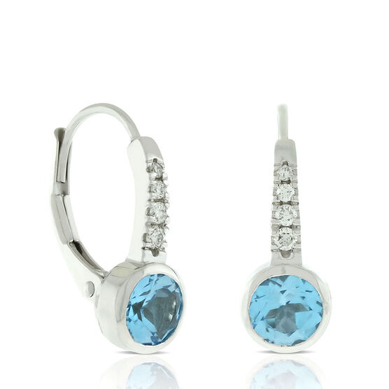 Bezel Set Blue Topaz & Diamond Earrings 14K