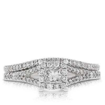 Princess Cut Halo Diamond Bridal Set 14K