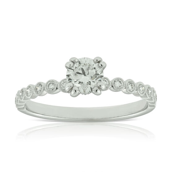 Double Prong Diamond Engagement Ring 14K