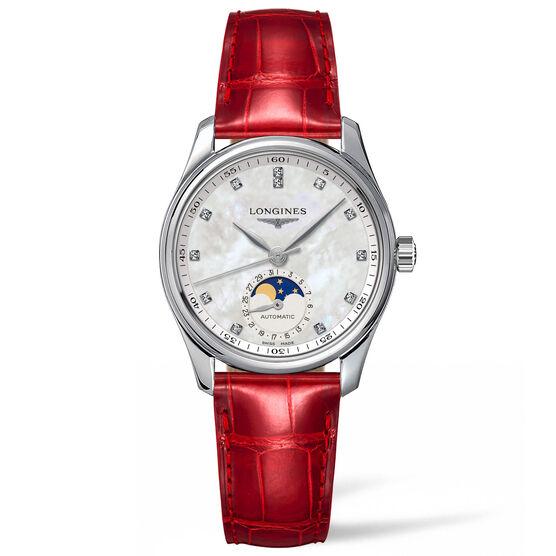 Longines Master Diamond Red Alligator Automatic Watch, 34mm