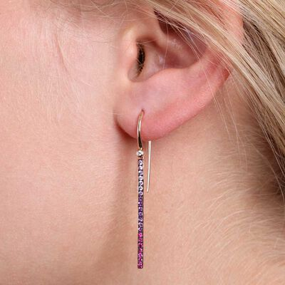 Rose Gold Multi-Gemstone & Diamond Bar Drop Earrings 14K