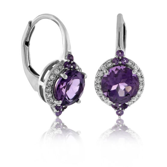 Round Amethyst Halo Earrings 14K