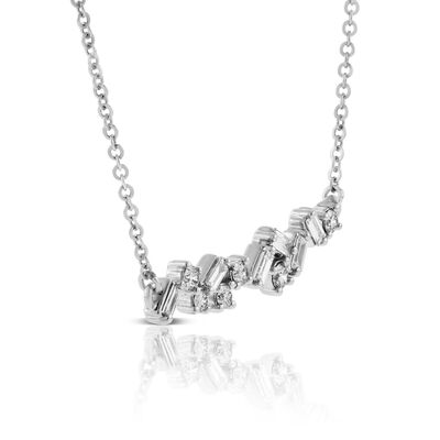 Scattered Baguette & Round Diamond Necklace 14K