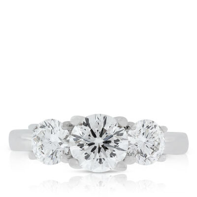 Signature Forevermark Three-Stone Diamond Ring 18K