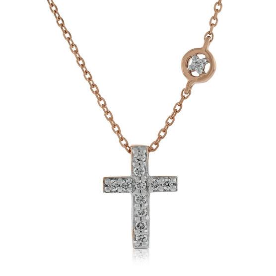 Rose gold diamond cross pendant 14k ben bridge jeweler rose gold diamond cross pendant 14k aloadofball Images