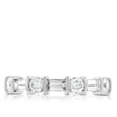 Baguette & Round Diamond Ring, 1 Carat in Platinum