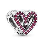 Pandora Sparkling Synthetic Ruby Red Freehand Heart Charm