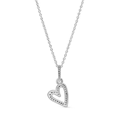 Pandora Sparkling Freehand CZ Heart Pendant Necklace
