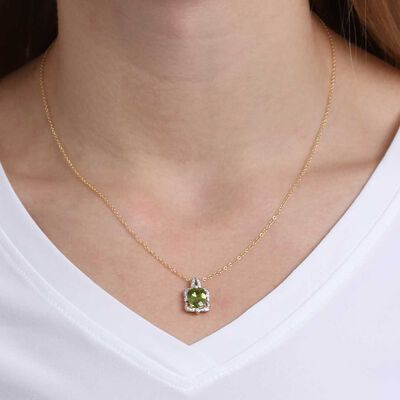 Cushion Peridot & Diamond Halo Necklace 14K