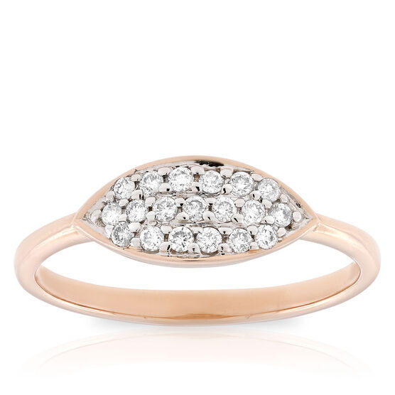 Rose Gold Diamond Pavé Ring 14K