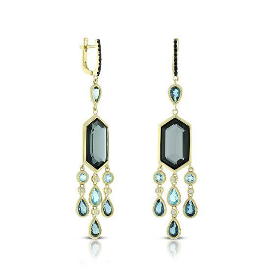 Blue Topaz, Black Sapphire & Diamond Earrings 14K