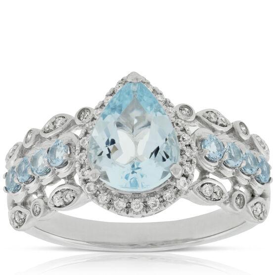 Aquamarine & Diamond Ring 14K
