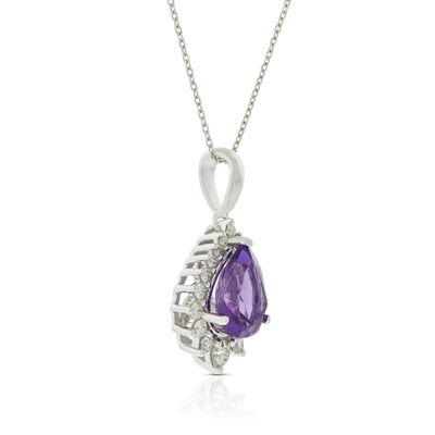 Pear Amethyst & Diamond Halo Necklace 14K