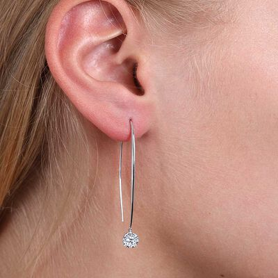Round Diamond Cluster Wire Threader Earrings 14K