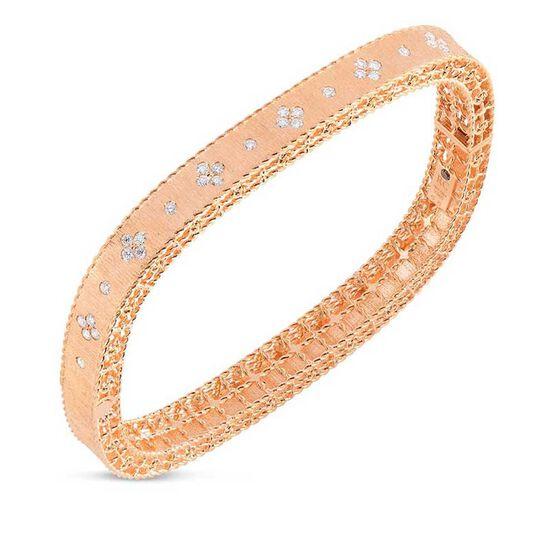 Rose Gold Roberto Coin Symphony Princess Satin Finish Diamond Bangle 18K