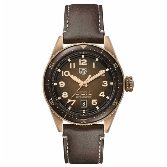 TAG Heuer Autavia Calibre 5 COSC Mens Brown Leather Watch