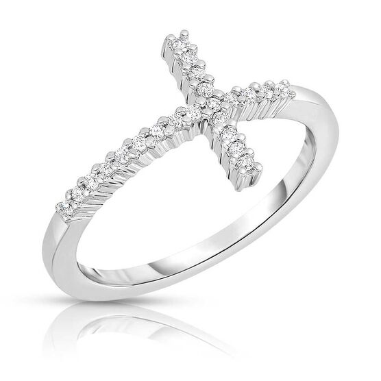 Roberto Coin Tiny Treasures Diamond Sideways Cross Ring 18K