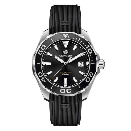 TAG Heuer Aquaracer Quartz Mens Black Rubber Watch