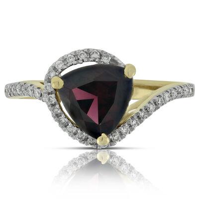 Trillion Garnet & Diamond Ring 14K