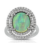 Double  Halo Opal & Diamond Ring 14K