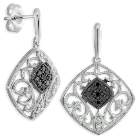 Black & White Diamond Earrings 14K