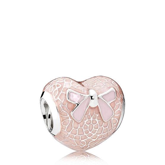 PANDORA Pink Bow & Lace Heart Enamel Charm