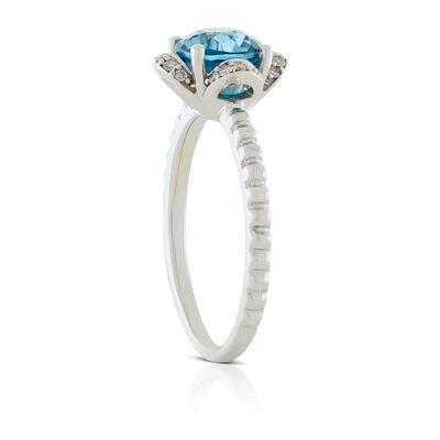 Blue Zircon & Diamond Flower Ring 14K