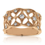 Rose Gold Filigree Diamond Band 14K