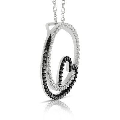 Circle & Heart Black & White Diamond Pendant 14K