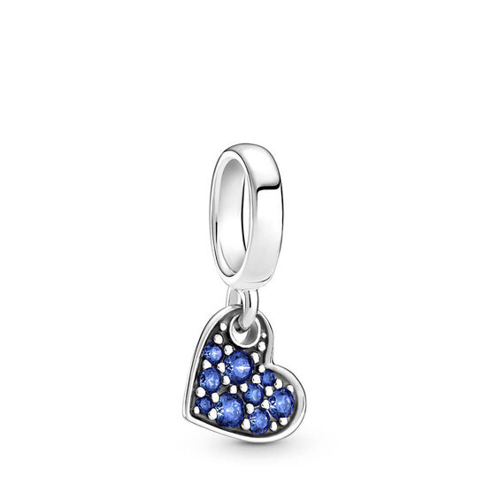 Pandora Stellar Blue Pavé Crystal Tilted Heart Dangle Charm