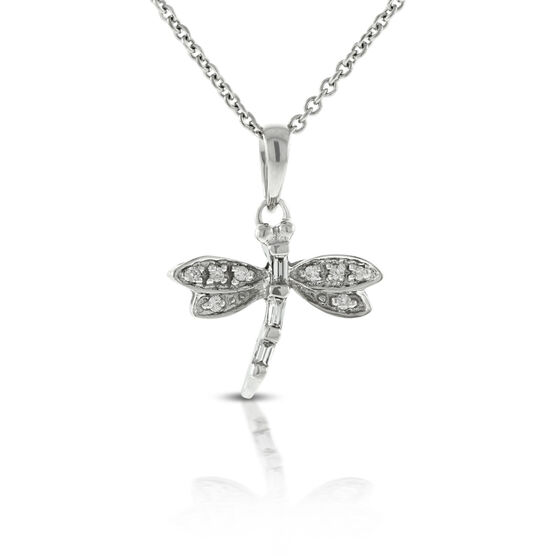 Dragonfly Diamond Pendant 14K