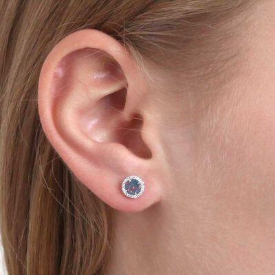 Round Opal Doublet & Diamond Stud Earrings 14K