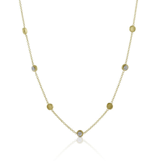 Toscano Satin Diamond Station Necklace 14K