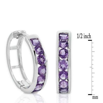 Amethyst Hoop Earrings 14K