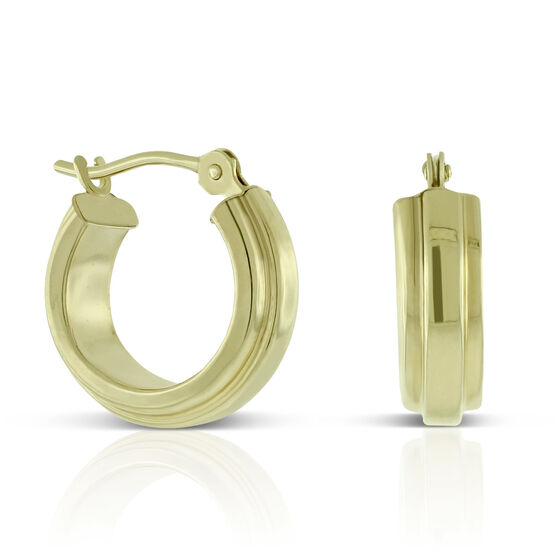 Ribbed Hoop Earrings 14K