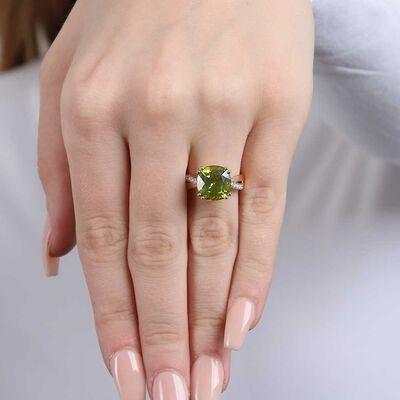 Cushion Peridot & Diamond Ring 14K