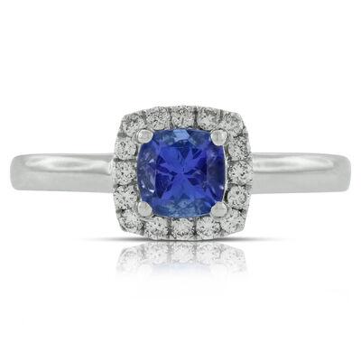 Cushion Tanzanite & Diamond Ring 14K