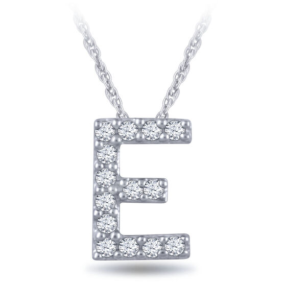 Diamond Initial Pendant 14K Letter 'E'