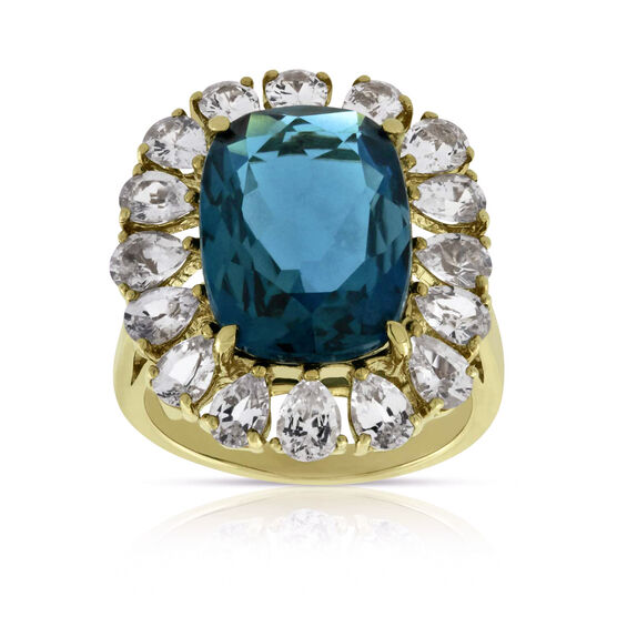 Blue Topaz & White Sapphire Bold Fashion Ring 14K