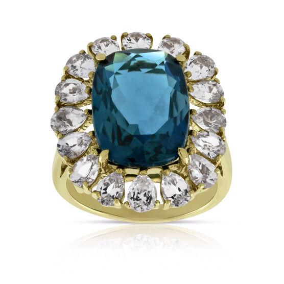 Blue Topaz & White Sapphire Bold Fashion Ring 14K