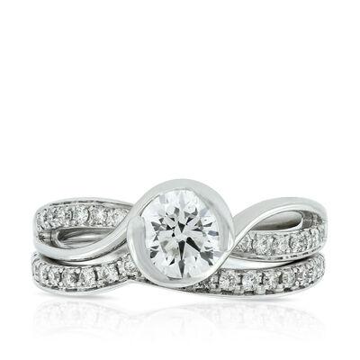Bezel Diamond Wedding Set 14K